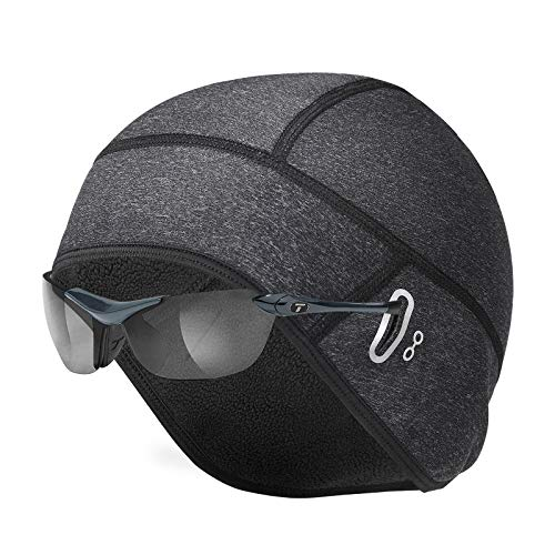 Amzkoi Bonnet de Cyclisme, Bonnet sous Casque Calotte de Cyclisme Bonnet Running d'hiver, Bonnet extensible en polaire thermique coupe-vent, Adapté à la Course, Vélo, Ski, Moto, Randonnée, Extérieur