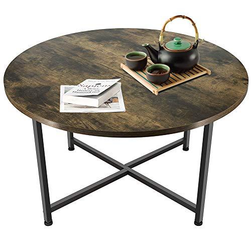 Macallen Table Basse Ronde Industrie Design Cadre Métallique...