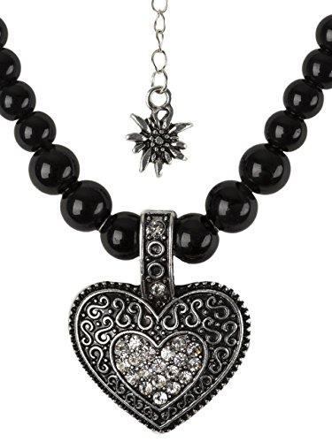 Collier de perles en forme de cœur - Élégant collier de perles avec grand cœur et petit edelweiss en strass - Collier pour costume traditionnel dirndl et pantalon en cuir - Blanc - Taille unique