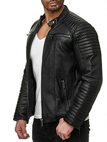 Veste en Cuir pour Homme Blouson de Motard en Cuir synthétique Jacket Noir S