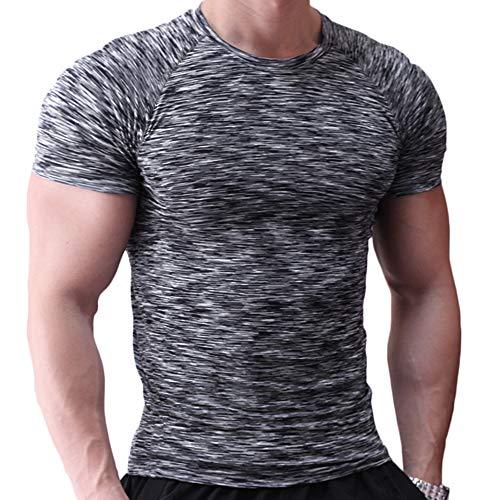 Musclealive Hommes Maigre Serré Compression Couche de Base Manche Courte T-Shirt La...