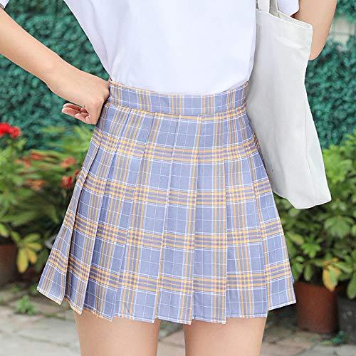 CIDCIJN Mini Jupe Crayon Femme,Fashion Summer Cute Women Skirts Korean High Waist Plaid Mini Skirt Women School Girls Sexy Cute Pleated Skirt with Zipper,Purple,XXL prix et achat