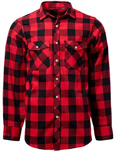J.VER Chemises Homme en Flanelle Chemises Casual à Carreaux Manches Longues Chemise Chaude de...
