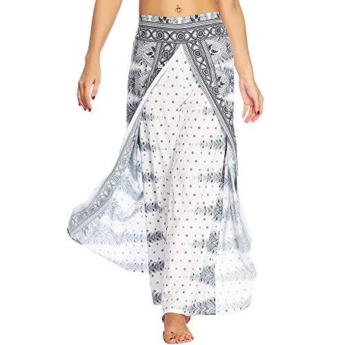 Nuofengkudu Femme Split Baggy Yoga Pantalon Large Jambe Hippie Imprimé Motif Ethnique Leger...