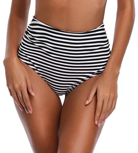 SHEKINI Ruched Overlay Maillot de Bain Aux Femmes Flounce Vintage Taille Haute Bikini Halter Strap Mignon Maillots de Bain 2 Pièces (Small, Noir-Bottom) prix et achat