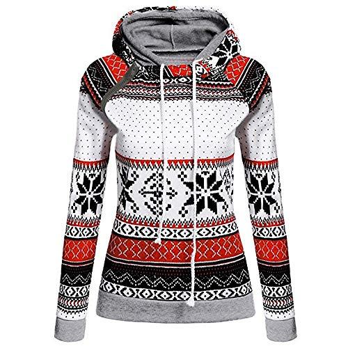 Pull de Noël ZuzongYr - Sweat à capuche pour femme - Imprimé flocon de neige - Avec fermeture éclair - Patchwork - Col cascade - Blanc - L