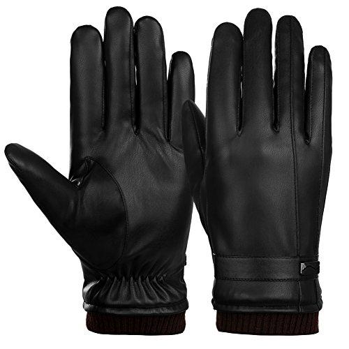 Vbiger Gants en cuir à écran tactile Gants chauds à l'hiver Mitaines cyclistes épaisses...
