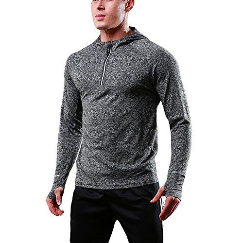 FELiCON Hommes Sweatshirt Zipper à Manches Longues avec Capuche, Running Jogging Top, pour...