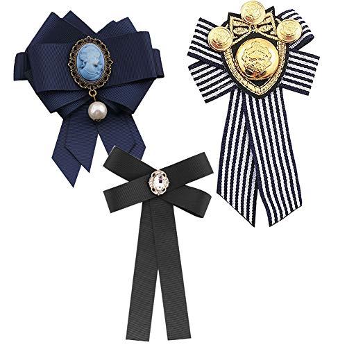 3 Pièces Broche pour Femme Cravate Arcs Broche Cristal Perle Noeud Brooch Bowknot Broches Rétro Noeud Papillon Vêtement Broches Accessoires, Noir/Bleu/Rayé prix et achat