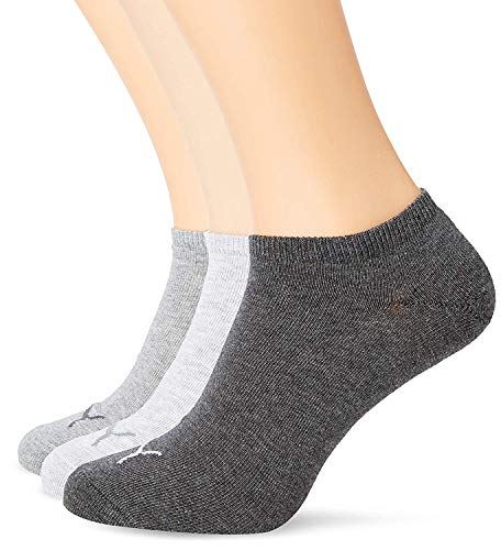 PUMA Chaussettes de sport - Invisible 3P - Homme - Gris (Anthraci/L Mel Grey/M Mel Grey) - FR: 43-46 (Taille fabricant: 43/46)