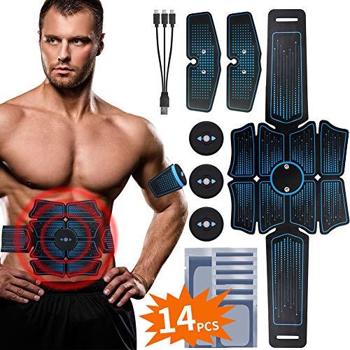 RIRGI Electrostimulateur Musculaire USB Rechargeable, Ceinture Abdominale Electrostimulation Appareil Abdominal Musculation Electrique Stimulateur EMS pour Homme Femme (Bleu)