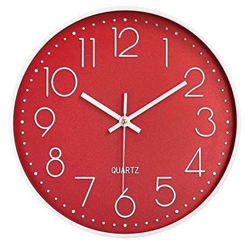 Horloge murale silencieuse 12 dans horloge de cuisine Quartz à piles moderne décor à la maison horloge bureau classe salon chambres (rouge)
