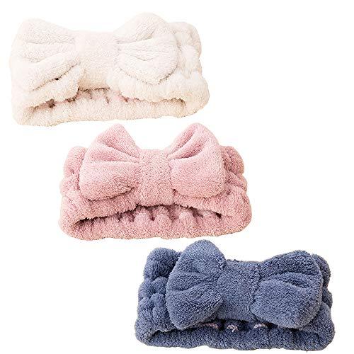 3Pcs Bowknot Cheveux Bandes,Maquillage Du Visage Bandeau, pour spa, yoga, douche, pour les soins du visage et le maquillage. (Bleu Rose Blanc) prix et achat