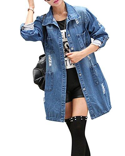 Minetom Femmes Automne Casual Loose Denim Manches Longues Veste Blouson Jean Bouton Veste Jacket Coat Outwear Bleu FR 48