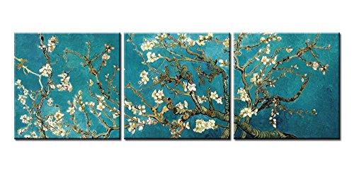 So Crazy Art Peinture sur toile Format triptyque Reproduction du tableau «Amandier en fleurs» peint en 1890 par Van Gogh Idéal pour décorer votre salle de séjour