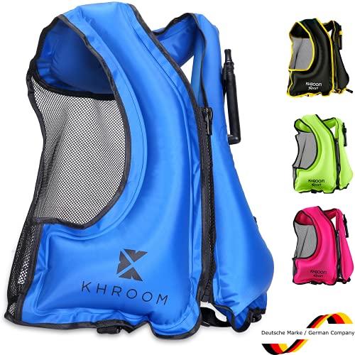 Khroom® Gilet de sauvetage gonflable – Poids seulement 400 g – Aide à la flottabilité pour plongée, kayak et Sup – pour adultes (Bleu)