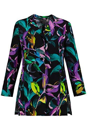Ulla Popken Femme Grandes Tailles Blazer léger, Long, imprimé Fleurs Multicolore 52/54 727560 90-50+