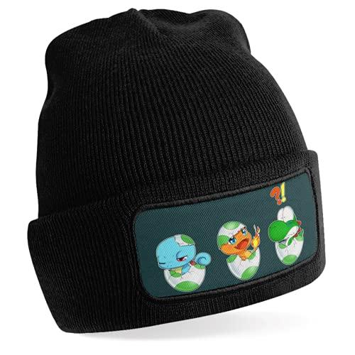 Okiwoki Bonnet Noir Parodie Yoshi - Pokémon - Bébé Yoshi Face à Salamèche et Carapuce -...