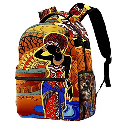 KeepCart sac à dos cartable sac à dos sac d'école randonnée sac à dos Apprendre Haute capacité et mignon en plein air Femme africaine au turban pour hommes et femmes