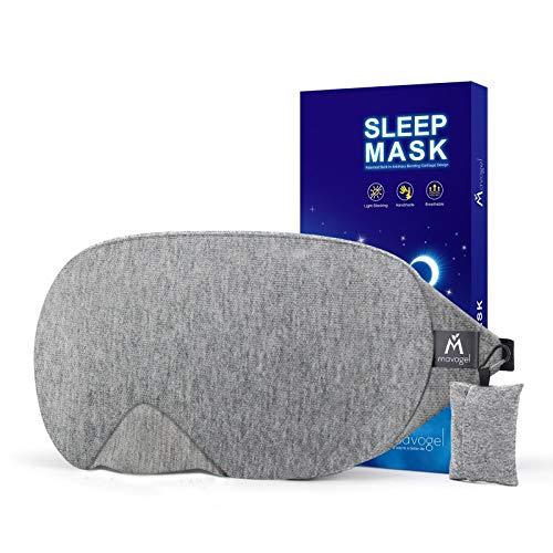 Mavogel Masque de nuit - Masque sommeil pour hommes et femmes, Masque de sommeil anti-lumière au design moderne, Masque yeux doux et confortable pour dormir, avec pochette de voyage, gris