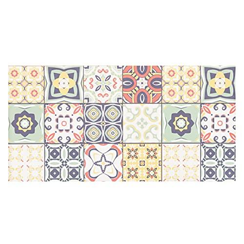 Baroni Tapis de cuisine en vinyle, motif carrelages multicolores, en PVC, antidérapant, pour intérieur et extérieur, 120 x 60 cm