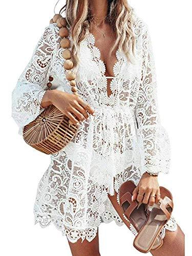 Femme Plage Mini Robes Tunique Dentelle Bikini Cover Up Crochet Col V Sarong Beachwear Cache-Maillot Col V (Blanc, M) prix et achat