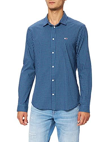Tommy Jeans TJM Stretch Poplin Check Shirt Chemise, Vert Menthe/Noir Multicolore, XXL Homme prix et achat