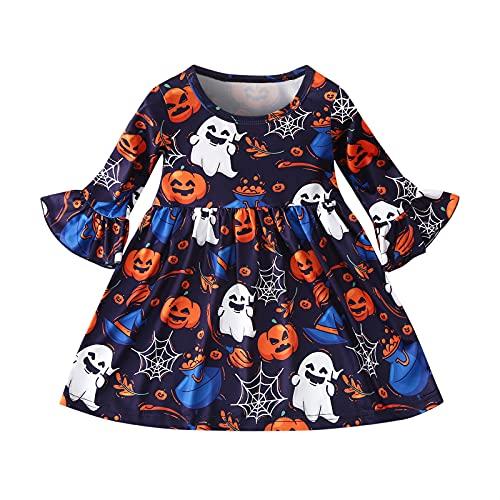 BIBOKAOKE Robes pour enfants - Manches longues - Motif floral - Robe de princesse - T-shirt - Vêtements pour enfants - Robe décontractée - Robe d'été - Pour les vacances - Pour fille. prix et achat
