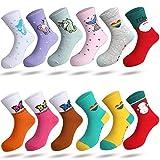 Rovtop 12 paires de Chaussettes pour Filles, 67% Coton, Chaussettes de Dessin Animé Mignon pour Enfants, Chaussettes Colorées à Tube Moyen pour Filles Agées de 24 à 29 ans et de 5 à 7 ans