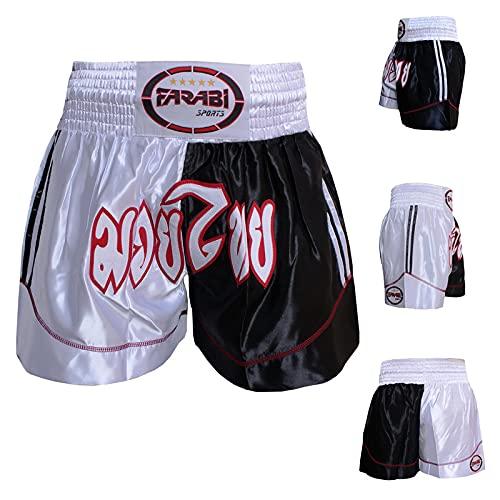 Farabi Sports Muay Thai Shorts - Shorts de Boxe MMA pour Le Kickboxing, la Boxe, l'entraînement, Les Combats en Cage, l'exercice, Le Grappling, la Course et Les Arts Martiaux (Black/White, S) prix et achat