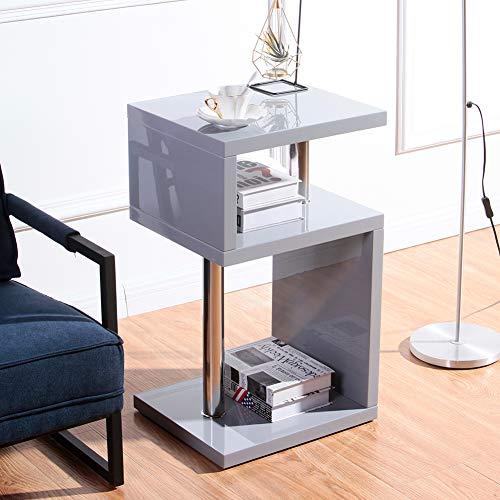 GOLDFAN Table Basse de Salon Moderne Table d'appoint Bout de Canapé avec 3 Etagères Haute Brillance Gris 44x38x75cm