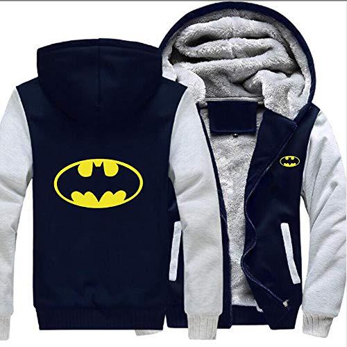 THICKEN Sweat à Capuche Daddy Batman Pull Unisexe Plus épais Velours d'hiver Sweat à Capuche Zippé Tops Veste A- M