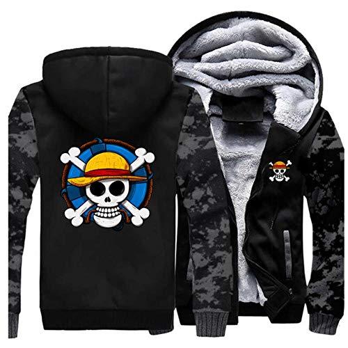 GuiSoHnh Homme Hiver Sweats à Capuche Epaisse Chaud Veste à Capuche Manteaux Manches Longues Blousons Hoodie Anime One Piece Skull Imprimé Sweatshirts L