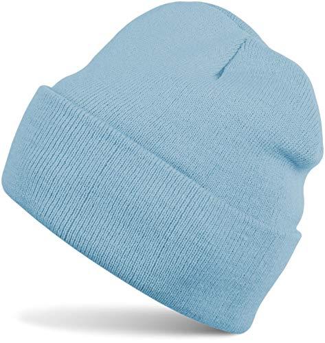 styleBREAKER Classique Bonnet Tricoté, Fine Tricot, Chaud, Unisexe 04024029, Couleur:Bleu...