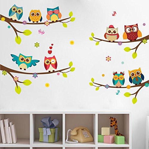 WandSticker4U®- Stickers muraux enfants 9 Chouettes sur branches (120x100 cm) I arbre fleurs oiseau papillons autocollants I sticker mural pour chambre d'enfant bébé garçon fille crèche vitres