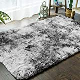 Ultra Doux Intérieur Tapis Moelleux Shaggy Polyester Gris Clair Tapis Écologique Salon Chambre Décor,140x200cm