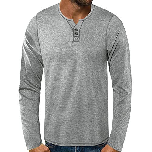 BIBOKAOKE T-shirt à manches longues pour homme - Col en V - Manches longues - Uni - Patchwork - Décontracté - Fitness - Jogging - Sport - Manches longues - Beige - Medium