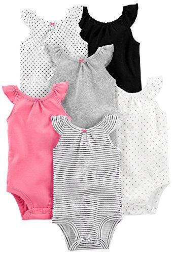 Simple Joys by Carter's 6-pack Sleeveless Bodysuit Body Black, White Pink Ruffle 3-6 months Lot de, 1