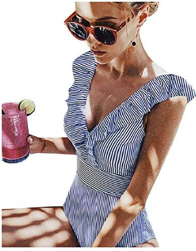 Yuson Girl Sexy Body Rayure Maillot de Bain Femme 1 Pieces Volant Amincissant Dos Nu Trikini Col V Cut Out Trikini Bikini Rembourré Monokini Push Up Taille Haute Flounce Ventre Plat,Bleu,M prix et achat