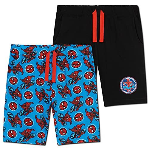 Marvel Short Garçon Spiderman, Lot de 2 Shorts en Coton avec Poches, Bermuda Enfant Garçon et Ado 2 à 14 Ans, Cadeau Spider Man Enfant (Bleu/Noir, 7-8 Ans)