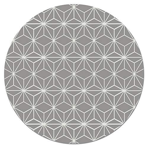 Panorama Tapis du Sol Vinyle Ronde Lignes d'Étoiles Grises 100x100 cm - Tapis de Cuisine en PVC Linoléum Vinyle - Antidérapant Lavable Ignifuge - Tapis pour Cuisine Bureau Salon - Protection du Sol