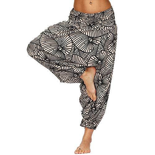 Nuofengkudu Femme Yoga Pantalon Sarouel Thailande Motif Ethnique Haute Taille Elastique Larges Sport Baggy Pants Plage(W-Marron,Taille Unique)