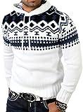 Reslad RS-3013 Pull d'hiver norvégien à capuche | Pull en tricot pour homme - Blanc - Large