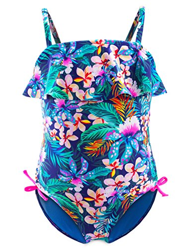 Maillots de Bain Une Pièce Filles, 50+ UPF UV Protection Tankini, Floral Ruffle Costume...