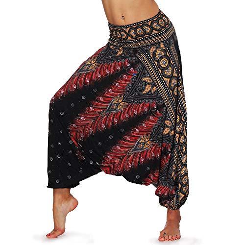 dilake Pantalon de Yoga Boho, Sarouel Pantalon de Plage décontracté Hippie Flowy, Taille Haute Taille Unique