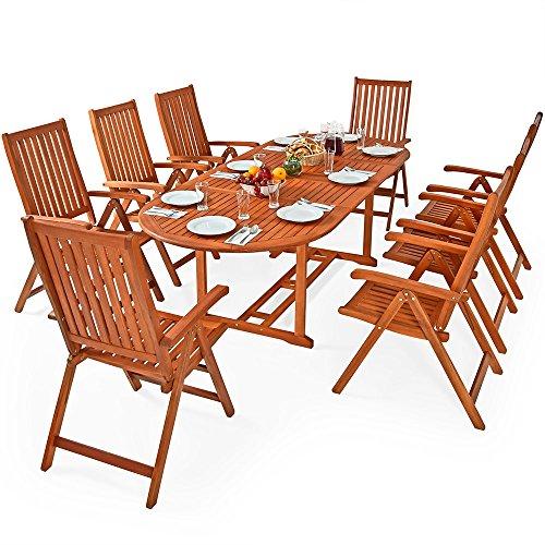 Deuba | Ensemble de jardin 8+1 • en bois d'eucalyptus FSC® • MORENO • 1 table et 8 chaises pliables | Salon de jardin