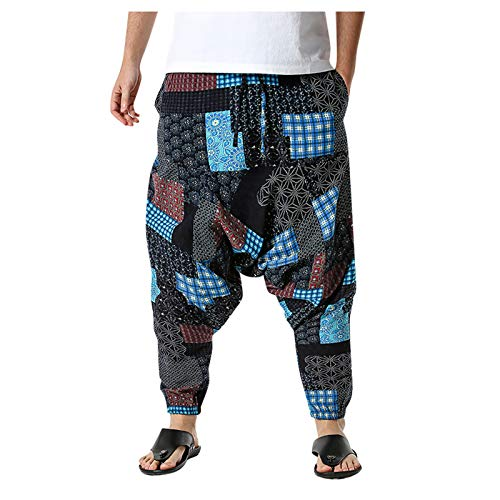 MINYING Sarouel Homme Rétro Impression Baggy Harem Pantalon Taille Élastique Hippie Jogging Yoga Ample Pantalon Ethnique Pantalon Cordon de Serrage Sport Casual Loose Grande Taille M-5XL