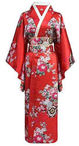 Kimono japonais Geisha avec ceinture Obi - Rouge - Taille unique