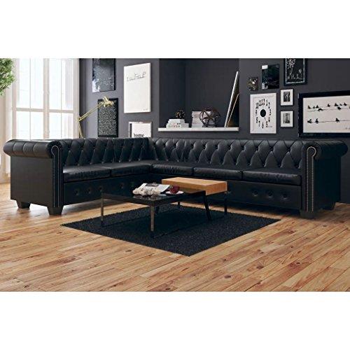 Tidyard Canapé d'angle Chesterfield à 6 Places en Cuir Synthétique Construction Solide Durable et Confortable Design Elégant Noir 260 x 205 x 73 cm