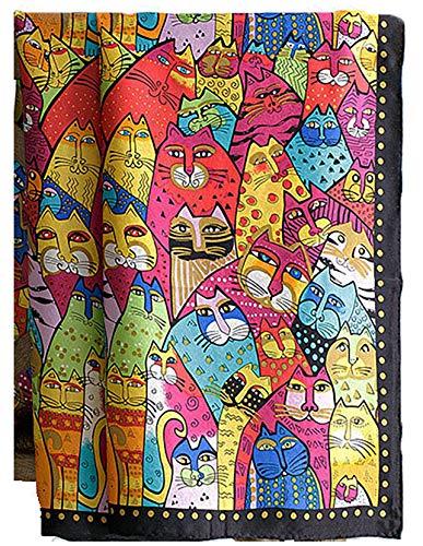 laprée - Foulard Femme en Soie Carré de Soie Foulard carré 100% soie roulotté 90 * 90 cm - Motif Chats